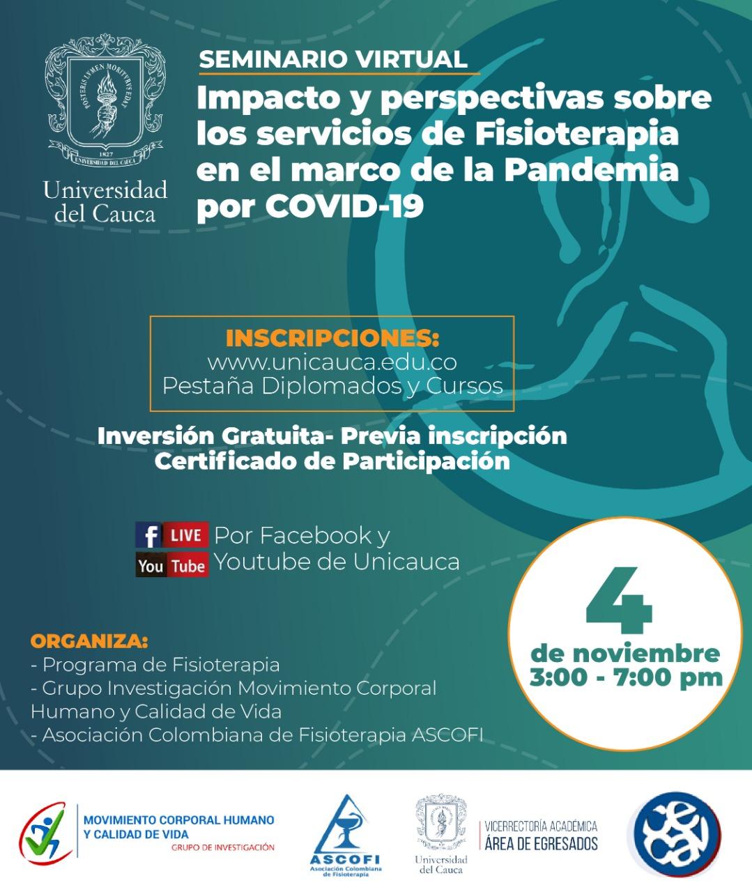 Seminario Impacto y perspectiva sobre los servicios de Fisioterapia en el marco de la Pandemia por COVID-19