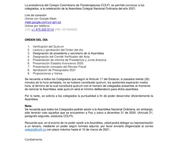 CONVOCATORIA ASAMBLEA COLEGIAL NACIONAL ORDINARIA COLEGIO COLOMBIANO DE FISIOTERAPEUTAS-COLFI 2021