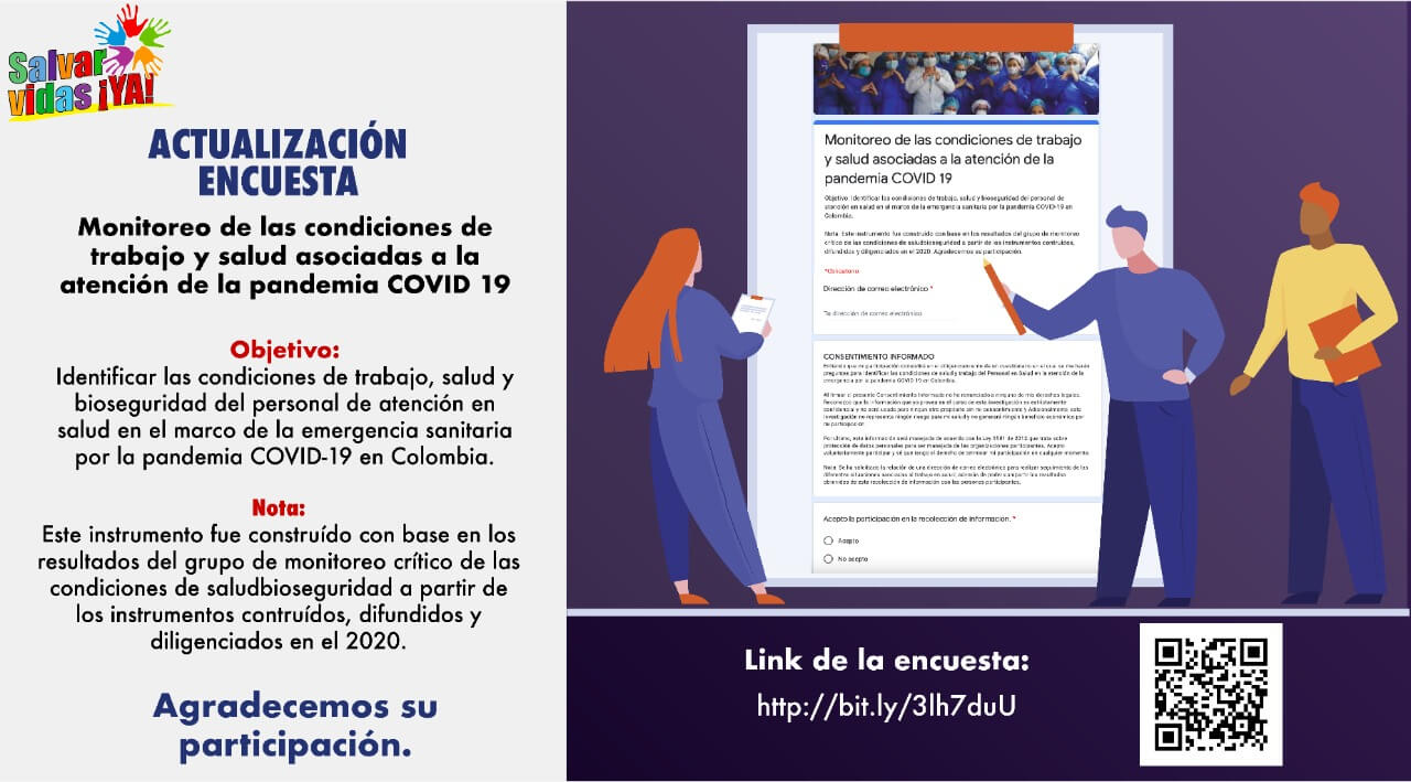 Encuesta monitoreo de las condiciones de trabajo y salud asociadas a la atención de la pandemia COVID-19