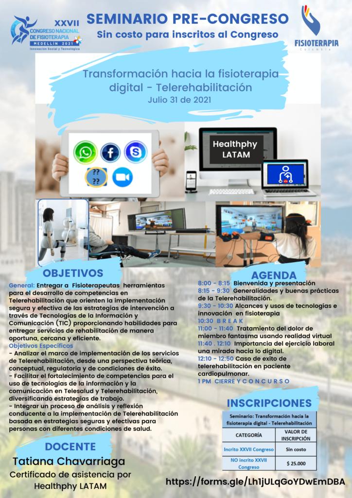 Taller precongreso: transformación hacia la fisioterapia digital - Telerehabilitación